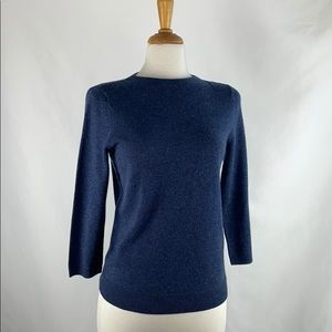Talbots Blue 3/4 Sleeve Cashmere Sweater